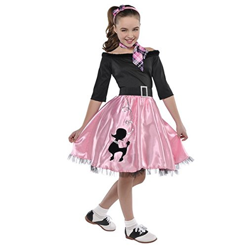 Fashionable 40's Party Miss Sock Hop Pink and Black Costume, Polyester Fabric, Children's Extra Large (14-16), 5-Piece (Sock Hop Dress)