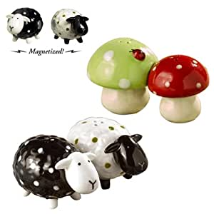 Grasslands Road So Lucky Celtic Magnetic Mini Lamb and Mushroom with Ladybug Salt and Pepper Shakers, Set of 8