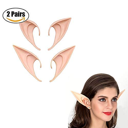 VITORIA'S GIFT Two Pairs Fairy Pixie Elf Ears,Soft Ears Vampire Elven Ears Halloween Cosplay for $<!--$8.00-->