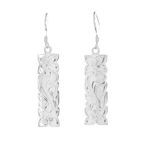 (Sterling Silver Engraved Vertical Hawaiian Hibiscus Dangle Earrings)