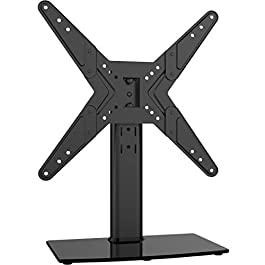 Hemudu Universal Swivel TV Stand/Base Table Top TV Stand for 21 to 43 inch TVs with 90 Degree Swivel, 4 Level Height Adjustable, Heavy Duty Tempered Glass Base, Holds up to 99lbs, HT02B-002