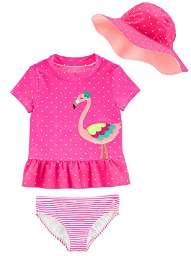Carter's Little Girls' Two Piece Swimsuit (Multi Pink, 18 Months)