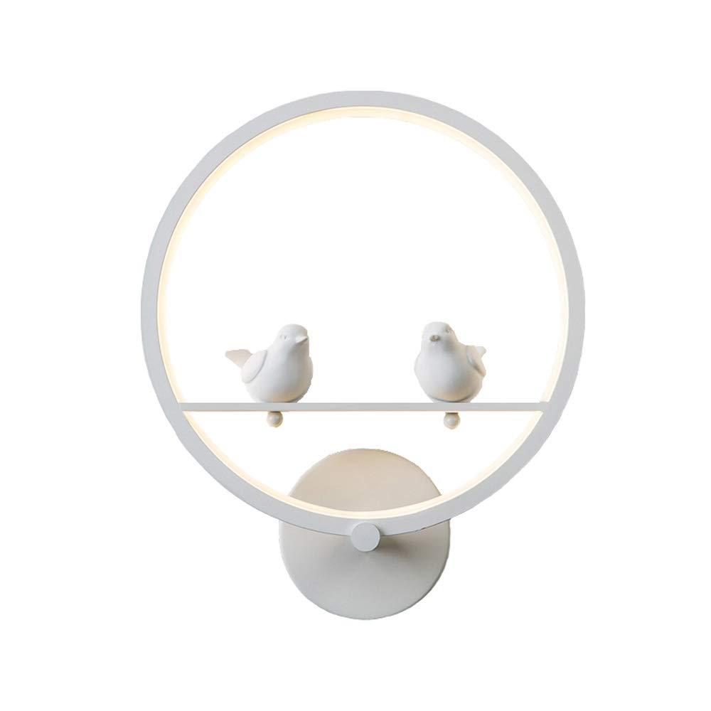 Nordique Postmoderne Minimaliste Fer LED SMD Noir/Blanc Applique Murale Chambre Art Romantique Creative Oiseau Lecture Mur Lampe Salon Couloir Cloakroom Hôtel Applique Murale (Couleur : Black) Lizichun