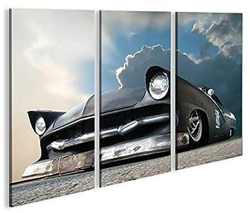Amischlitten V2 3 Bilder auf Leinwand Wandbild Edel Poster Bild