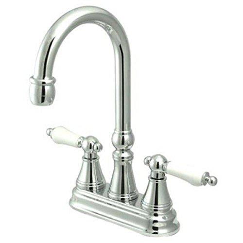 Faucet Polished Madison Chrome (Madison Centerset Bar Faucet with Porcelain Lever Handles Finish: Polished Chrome)