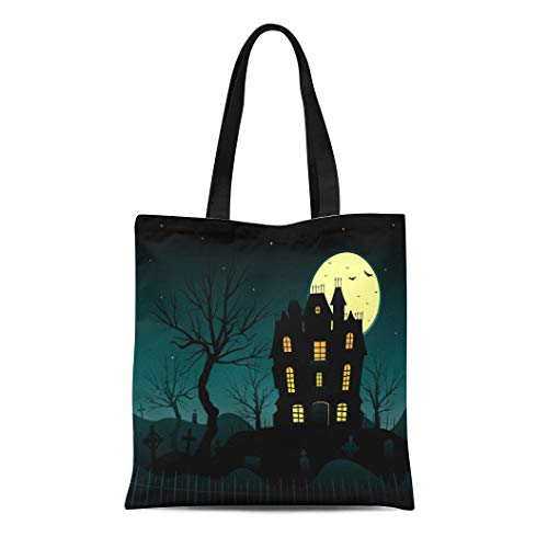 Semtomn Canvas Tote Bag Shoulder Bags Autumn Blue Horror Halloween Haunted House Creepy Bats Cemetery Women's Handle Shoulder Tote Shopper Handbag]()
