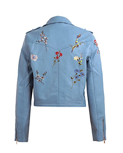 Embroidery Blue Coat Leather Flower Basic Romacci Zipper Moto PU Jacket Outerwear Jacket Women 7n5OqRY