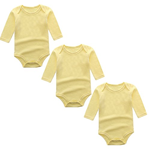 3-Pack Long Sleeve Bodysuits for Infant Girls Boys, (10-12 Months, Yellow) Yellow Long Sleeve Onesie