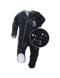 ZippyJamz Organic Baby Footed Sleeper Pajamas with Inseam Zipper