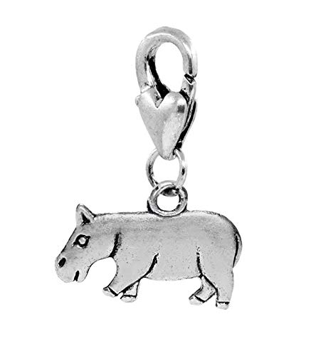 Hippo Hippopotamus Zoo Africa Animal Lobster Clip Dangle Charm for Bracelets Crafting Key Chain Bracelet Necklace Jewelry Accessories Pendants ()