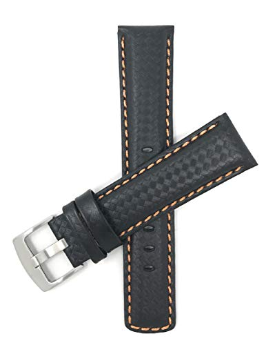 Bandini 20mm Black with Orange Stitch Carbon Fiber Leather Watch Strap Band ()