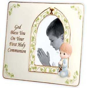 644027 - First Holy Communion Boy 3-1/2x5 Photo Frame - Precious Moments -