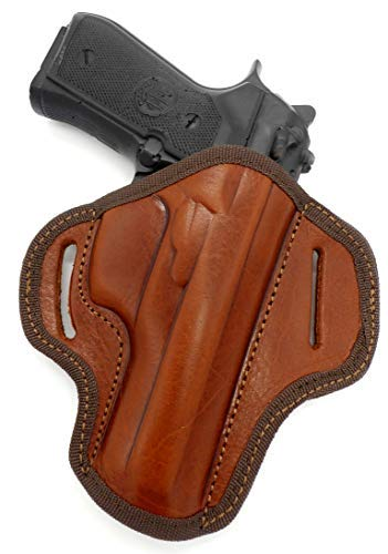 HOLSTERMART USA Right Hand OWB Open Top Belt Holster in Brown Leather for NonRail Beretta 92FS 96, Taurus PT92 PT99 PT100 PT101, 4.7