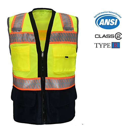 Vest Tear Away Safety (Safety Depot Ansi Class 2 Industrial Navy Blue Bottom Mesh Safety Vest Zipper Closure with Inner & Outter Pockets High Visibility Reflective Chevron Tape (Yellow, 4XL))