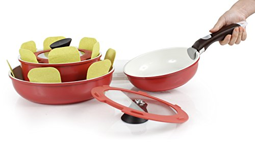 Neoflam Midas PLUS 9-piece Ceramic Nonstick Cookware Set with Detachable Handle, Sunrise Red, Space-Saving