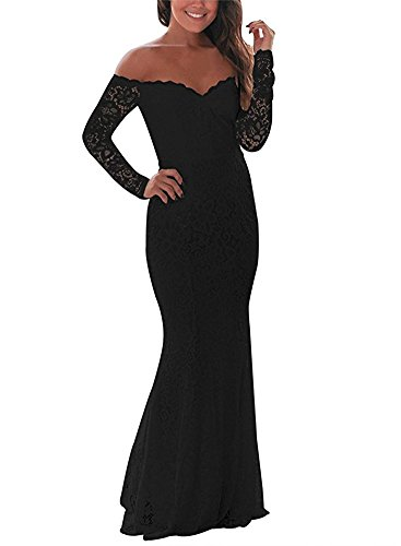 5cb88d330e8c BeneGreat Women's Long Sleeve Elegant Lace Evening Mermaid Maxi Foraml Party  Dress