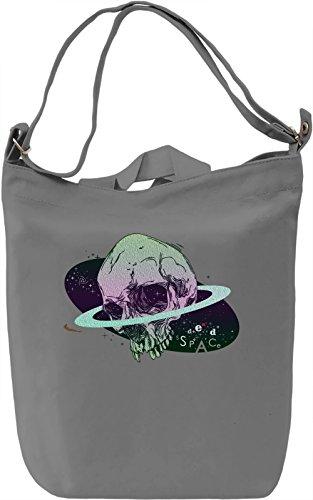 Space Skull Borsa Giornaliera Canvas Canvas Day Bag| 100% Premium Cotton Canvas| DTG Printing|