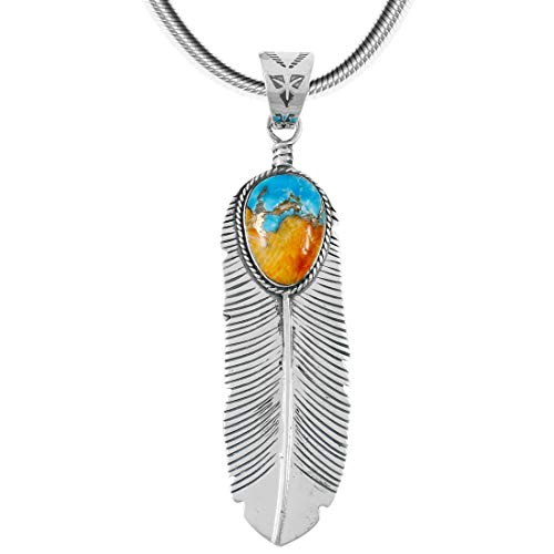 Turquoise Feather Pendant Necklace in Sterling Silver 925 & Genuine Spiny Turquoise (Large Spiny Turquoise)