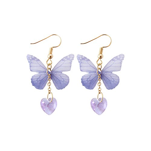 - Cute Blue Cloth Butterfly Hook Dangle Earrings Women Girl