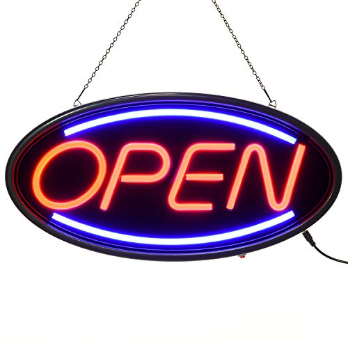 """Doingart LED Open Sign, 19""""x10"""" Business Neon Open Sign with 3 Lighting Modes Steady/Flash/Flowing, Electronic Lighted Sign for Business, Walls, Window, Store, bar, Hotel"""