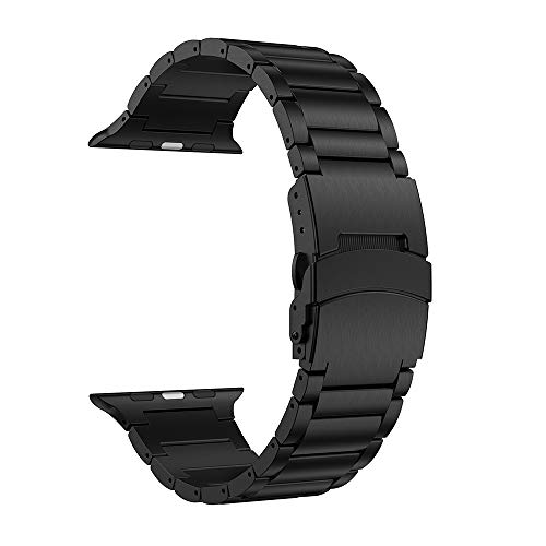 LDFAS Compatible for Apple Watch Band 44mm/42mm, Sport Stainless Steel Metal Replacement Strap with Safety Buckle Compatible for Apple Watch Series 4/3/2/1 Smartwatch, Black