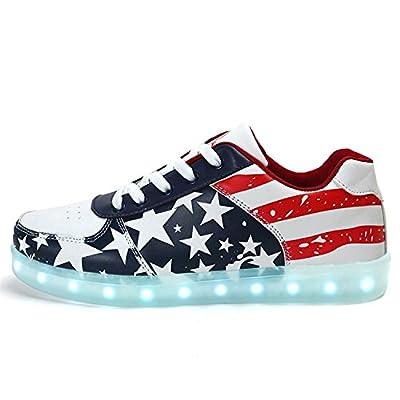Uerescha Unisex Adults Light Up Shoes 7 Colors Light USA Flag