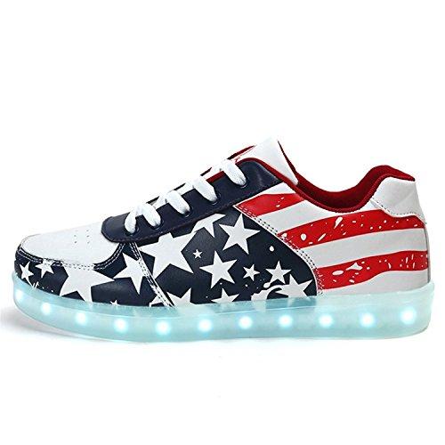 Uerescha Unisex Adults Light Up Shoes 7 Colors Light USA Flag Red12 B(M) US