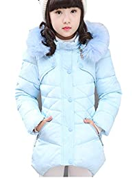 Girls Winter Coat Jacket,Toddler Kids Cotton Jackets Snowsuit Hooded Windbreaker with Soft Fur Hoodies for Girls