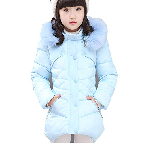 (Ruogu Girls Winter Coat,Toddler Kids Cotton Jackets Snowsuit Hooded Windbreaker Outwear with Soft Fur Hoodies for Girls (Light Blue, 5-6T)