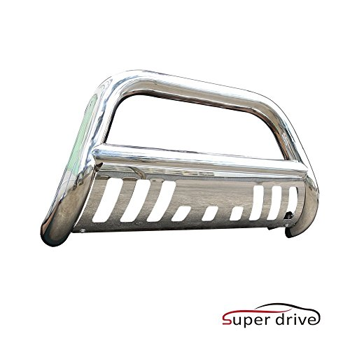 2005 Ford F150 Heritage Edition - Super Drive Stainless Steel Bull Bar for 2004-2017 Ford F150 Grill Guard Bar Front Bumper Guard with Skid Plate and Optional Light Holes (Excludes Raptor,Ecoboost,04 Heritage Edition)