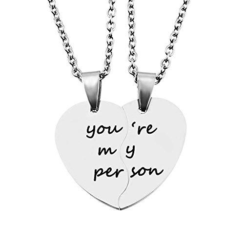 MJartoria Best Friend Necklaces BFF Necklaces for 2 Split Heart Weirdo 1 Weirdo 2 Best Friends Forever Pendant Friendship Set (You are My Person-Silver)