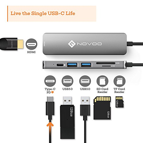 NOVOO USB C Hub 6 in 1 with HDMI 4K Adapter, USB C PD Power Delivery Charging Port, 2 USB 3.0 Ports, 1 SD Memory Port, 1 MicroSD Card Reader Compatible with MacBook Pro 2017/2016, HW MateBook and More by Novoo (Image #1)