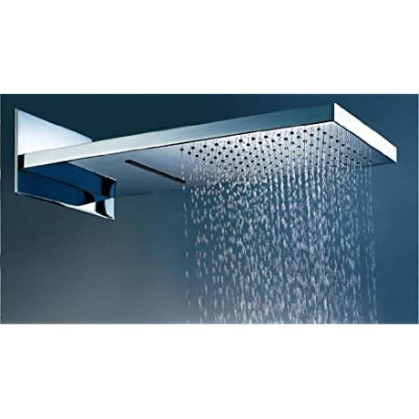 DUAL SHOWER HEAD Waterfall And Rainfall Rain Shower Head Stainless Steel