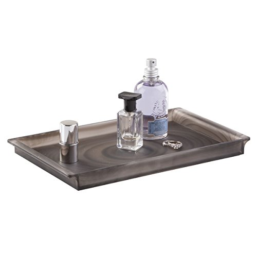 mDesign Bathroom Tray - for Stylish Cosmetics Storage - Stylish Bathroom Accessory for Guest Tea Towels, Perfume, Jewellery etc. - Black MetroDecor