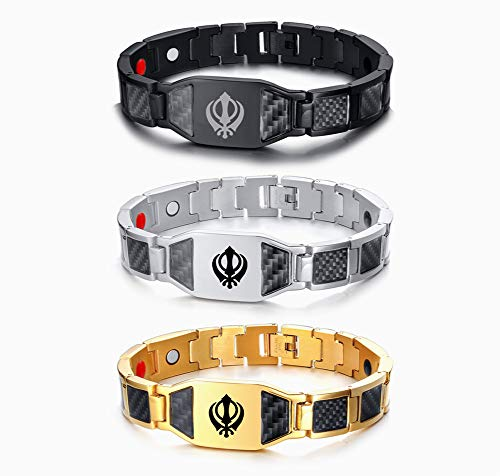 NJ Sikhism Link Bracelet - Stainless Steel 4 in 1 Magnetic Therapy Healing Carbon Fiber Inlay ID Tag Punjabi Sikh Khanda Sikhism Bracelet Religious Jewelry for Men