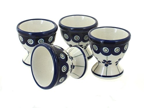 Polish Pottery Flowering Peacock Egg Cup Set