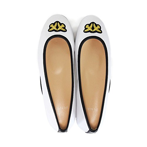 Leather Women's White Pinko 1H20A2Y3B2Z04 Flats gtxv0H8qHw