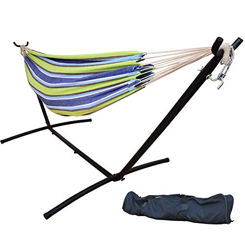 Prime Garden Double Hammock with Steel Stand for 2 Person Includes Portable Carrying Bag, 9 Feet, Elegant Oasis Stripe