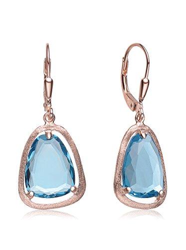 Genevive Jewelry Rose-Plated Blue Topaz CZ Teardrop Earrings