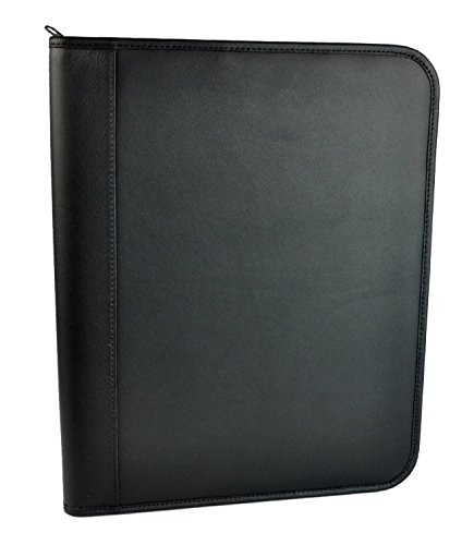 Royce Leather Zip Around Writing Padfolio, Black with Suede Interior by Royce Leather