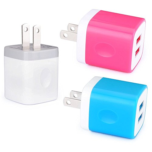 Phone Charger Box, FiveBox 3 PACK 2.1A Dual Port USB Wall Charger Brick Cube Charging Block Plug Charger Base Case For Android, Apple iPhone X/8/7/6/6s Plus, iPad, Samsung Galaxy S8 S7 S6, LG, Nokia