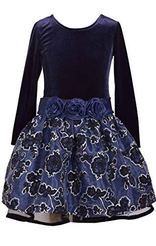 Bonnie Jean Girls Adorable Velvet Navy Drop Waist Flower Dress (8)