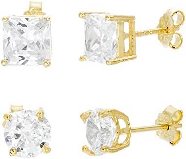 18K White / Gold Sterling Silver Cubic Zirconia 4 Prong Round and Square Post Earring 2 Pair Set