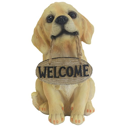 10.5 Inch Dog Statue, Hand-painted Golden Retriever Sculpture with welcome sign figure for the front door, yard & classroom. JHP