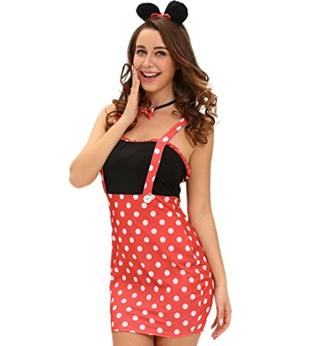Retro Miss Mouse Costumes (Dreamsoar Womens Retro Four-piece Darling Miss Minnie Mouse Costume cosplay Halloween dress S)