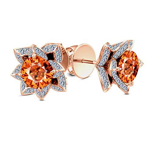 Gemstar Jewellery Lotus Screw Back Earrings In 925 Sterling Silver 14k Rose Gold Fn Orange Sapphire