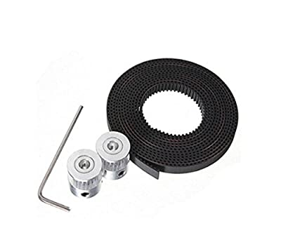 Happisland GT2 Timing Belt,2Pcs 5mm 20Teeth Timing Pulley Wheel+GT2 2 Meters Timing Belt for 3D Printer