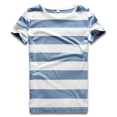 Striped T Shirt Women Crew Neck Short Sleeve Stripes Tee Top Blue and White M