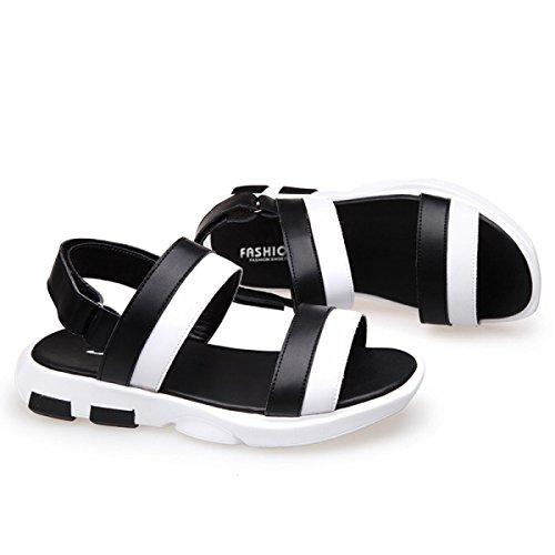 Dhfud Zapatos Ocasionales Verano De Deportivas Para Sandalias Hombre Coreanas Black Cuero Hombres gxYznrgqwC
