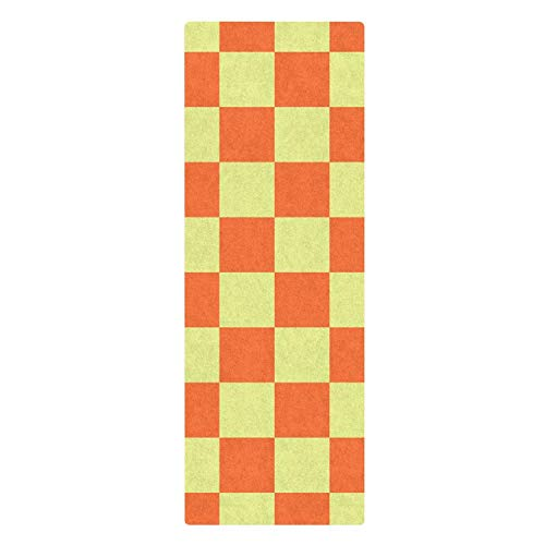 GTGTH Yoga Mat High Density Burnt Orange and Tidal Checkers Chequered Checkered Fitness Mat Premium Pilates Floor Exercises -